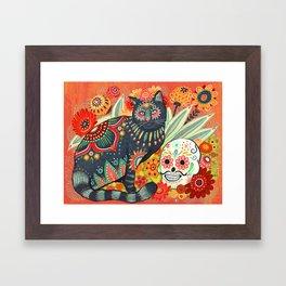Dia De Los Muertos Cat Framed Art Print