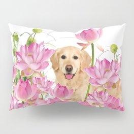 Labrador Retrievers with Lotos Flower Pillow Sham