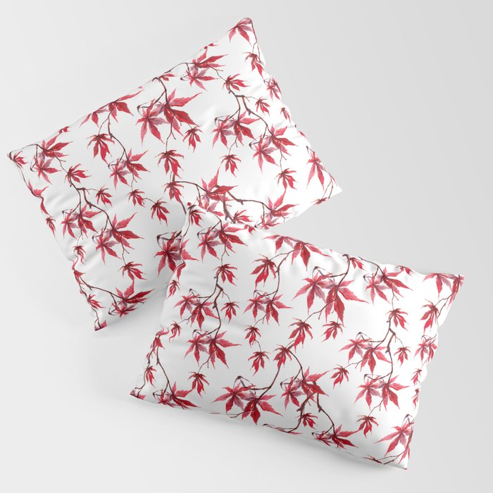 Watercolor Botanical Red Japanese Maple Leaves on Solid White Background Pillow Sham
