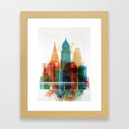 Cleveland skyline Framed Art Print