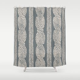Cable Knit Grey Shower Curtain