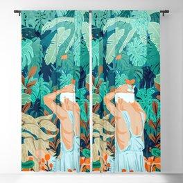 Backyard #illustration #painting Blackout Curtain