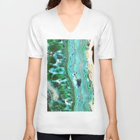mineral V-neck T-shirts featuring Stone Mineral Blue by Manuela Mishkova