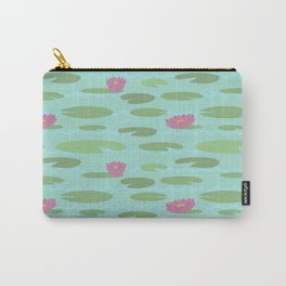Large Vintage Florida Lily Pad Pattern Carry-All Pouch