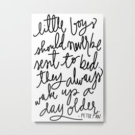 Peter Pan Quote by Aedriel (Square) Metal Print