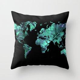 world map 77 blue Throw Pillow