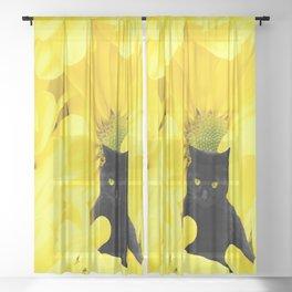 Black Cat Yellow Flowers Spring Mood #decor #society6 #buyart Sheer Curtain