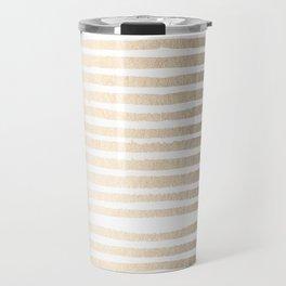 White Gold Sands Shibori Stripes Travel Mug