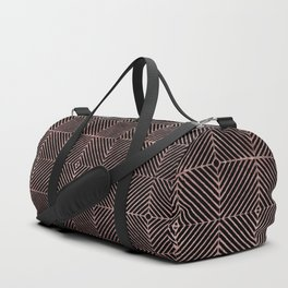 Abstract black rose pink geometrical diamond pattern Duffle Bag