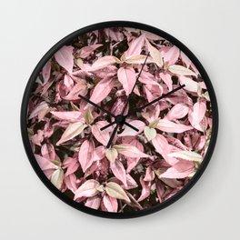 #Pink Foliage #nature #abstract Wall Clock
