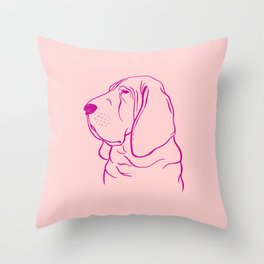 Bloodhound (Pink and Pink Violet) Throw Pillow