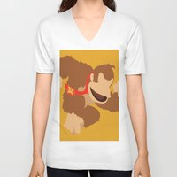 donkey kong V-neck T-shirts featuring Donkey Kong(Smash) by ejgomez