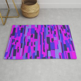 Icy Blue and Purple Crackle Glass Pattern Rug