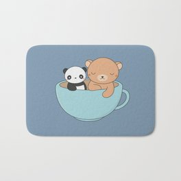 Kawaii Cute Brown Bear and Panda Bath Mat