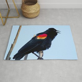 Watercolor Bird, Red-Winged Blackbird 02, Longmont, Colorado, Evening Melody Rug