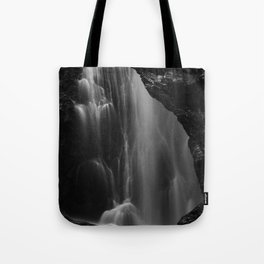Black and white waterfall long exposure Tote Bag