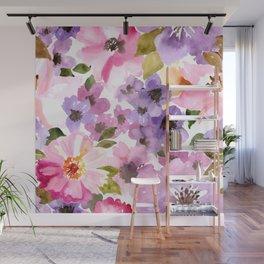 Pink Purple Watercolor Flowers Wall Mural