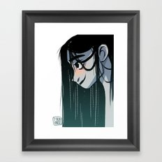 Black hair Framed Art Print