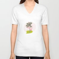 palm tree V-neck T-shirts featuring Palm Tree by Meike Teichmann