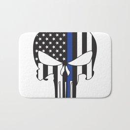 Punisher Skull American Flag Thin Blue Line Bath Mat