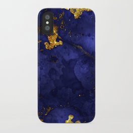 Gold Blue Indigo Malachite Marble iPhone Case