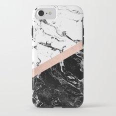 Modern black white marble color block rose gold iPhone 7 Tough Case