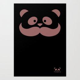 Moustache Panda Hug Art Print
