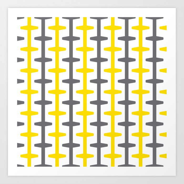 877552e9a83 Geometric Pattern 209 (yellow gray) Art Print by garyandrewclarke ...
