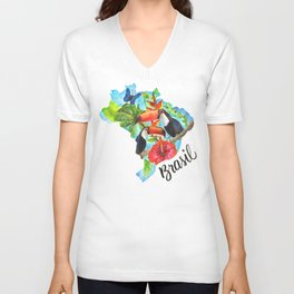 Brasil Watercolor Unisex V-Neck