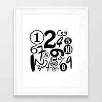 numbers Framed Art Prints featuring Numbers by Sweet Colors Gallery