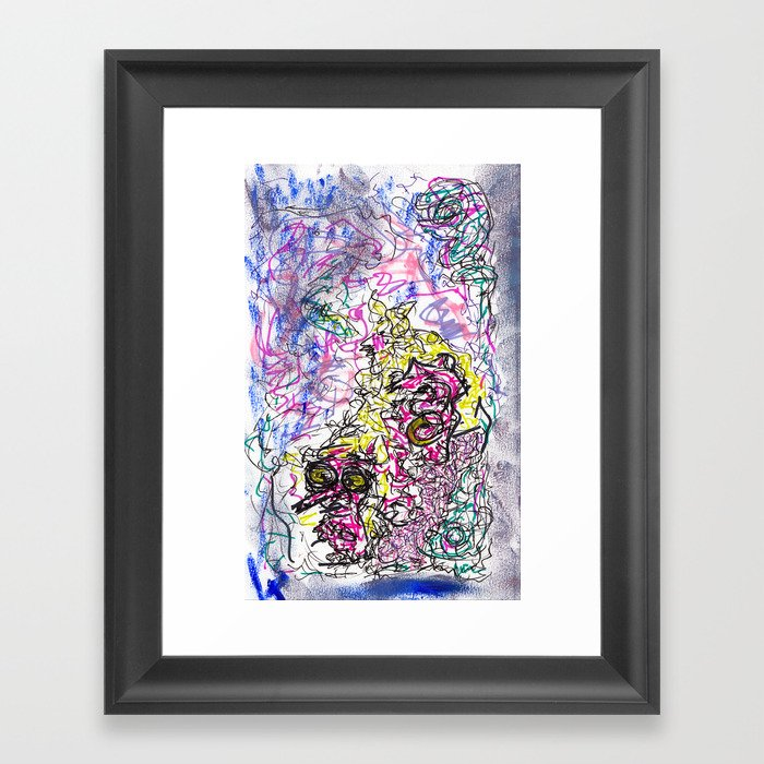 fzzy - mix media, ink and oil pastel Framed Art Print