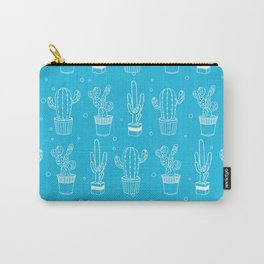 Blue And White Cactus Succulent Pattern Carry-All Pouch