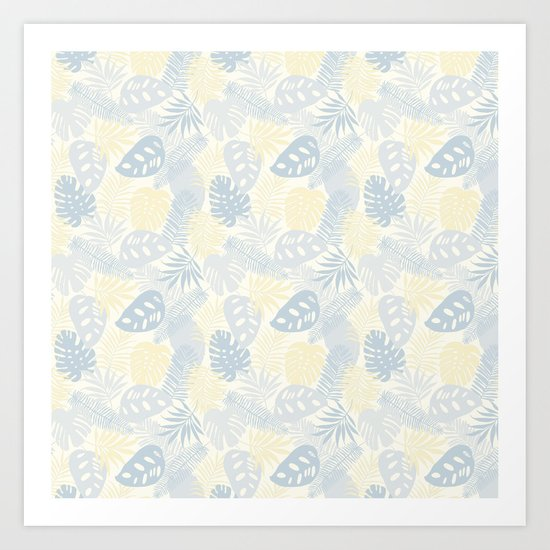 Tropical Leaves Pattern Yellow And Grey Art Print