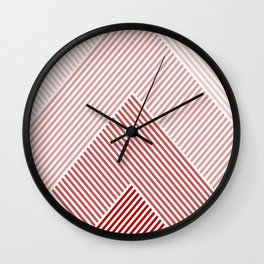 Shades of Red Abstract geometric pattern Wall Clock
