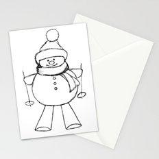 Skier Snowman AZ02 Stationery Cards