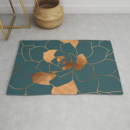 Abstract Metal Copper Blossom on Emerald Rug