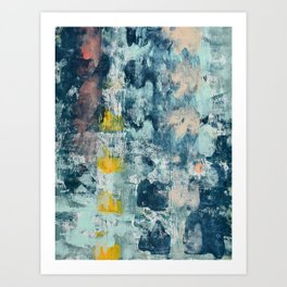 017: a bright contemporary abstract design in blues pinks and yellow by Alyssa Hamilton Art  Art Print