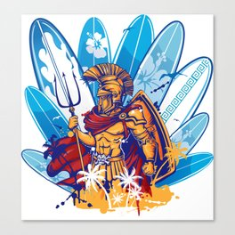 poseidon surfer with surfboard background Canvas Print