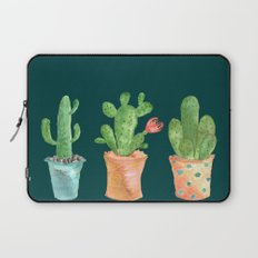 Three Green Cacti On Green Background Laptop Sleeve