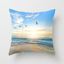 Blue Sky with Birds Throw Pillow