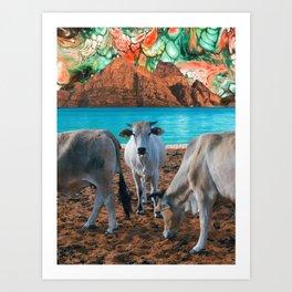 surreal cow pasture Art Print
