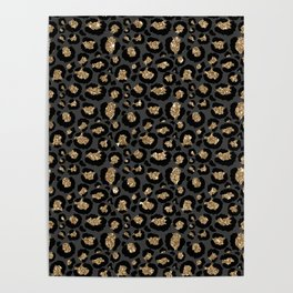 Black Gold Leopard Print Pattern Poster
