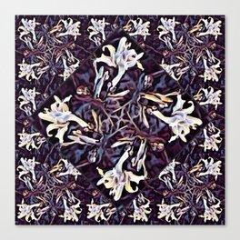 White Lilies in the Purple Garden Canvas Print