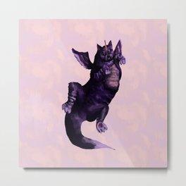 Cat Dragon Purple Metal Print