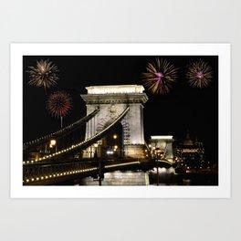 Szechenyi Chain bridge with fireworks Art Print