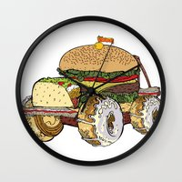 junk food Wall Clocks featuring junk food car by immiggyboi90