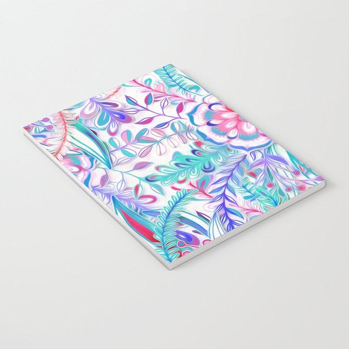 Boho Flower Burst in Pink and Teal Notebook