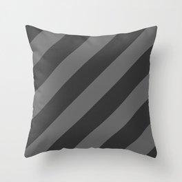 Stripes Diagonal Black & Gray Throw Pillow