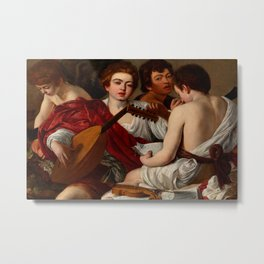 Caravaggio (Michelangelo Merisi - Italian, 1571-1610) - The Musicians or Concert of Youths (I Musici o Concerto) - Date: 1597 - Style: Baroque, Tenebrism - Media: Oil on canvas - Digitally Enhanced Version (1600 dpi) - Metal Print
