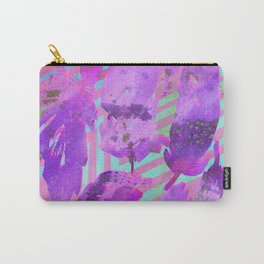 Boho Feather Zig Zag Collage | Watercolor Feather Art Print | Pink Purple Carry-All Pouch